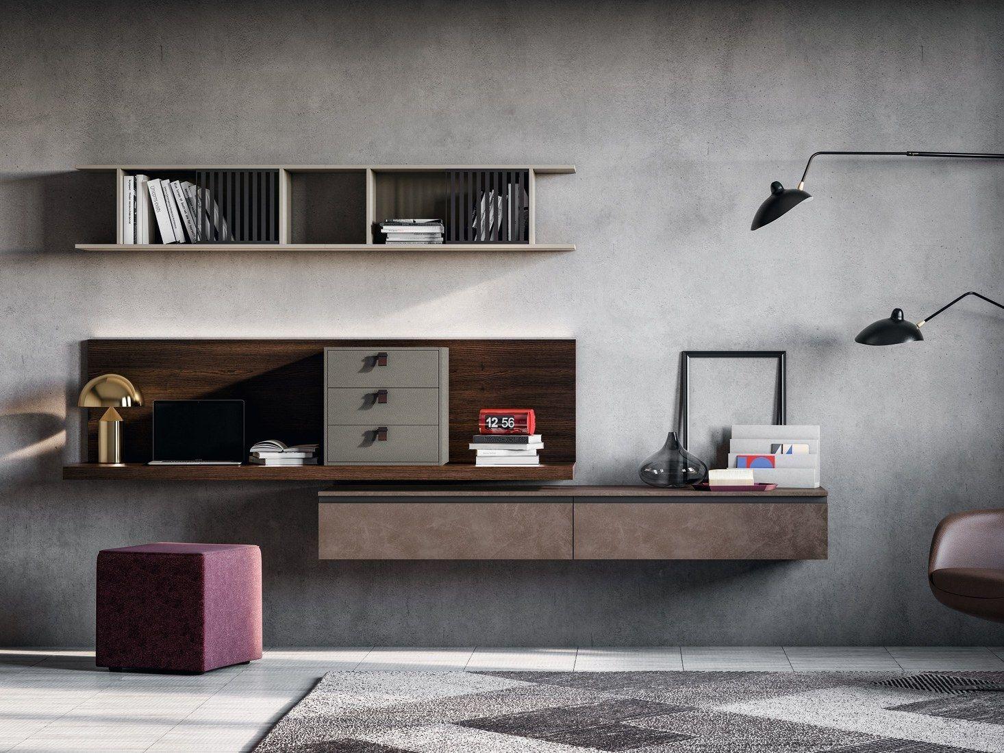 Escritorio integrado en la pared con mueble almacenaje Dall Agnese